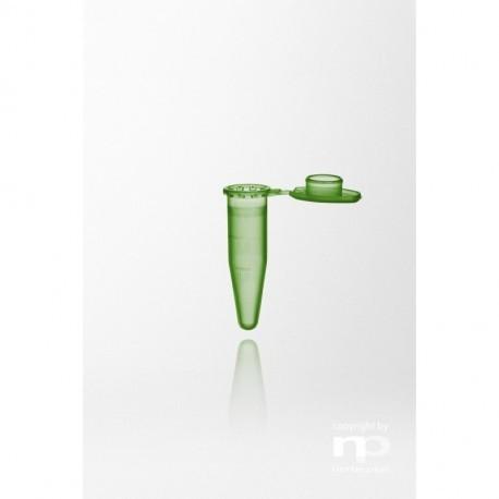 Probówka PP, 1,5 ml, dołączona zatyczka, zielona, stopniowana,